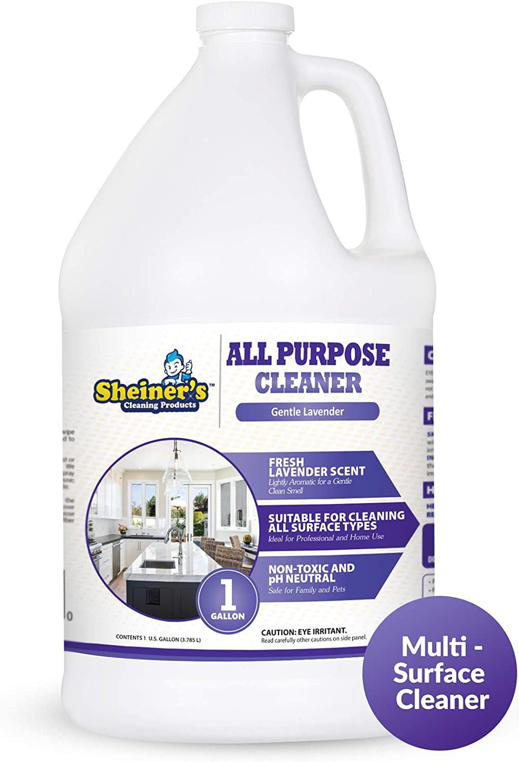 All Purpose Cleaner, Multi Surface Cleaner for Home, Kitchen Countertop,  Kitchen Floor, and Universal Stone Cleaning, Gentle Lavender Scent, 9  Gallon ...