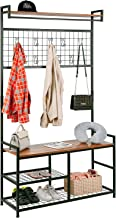 HOMEKOKO Industrial Coat Rack Shoe Bench, Large Hall Tree Entryway Storage Bench with Grid, Large Size, Wood Look Accent F...