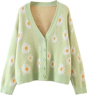 Las mujeres de punto suéteres cárdigans floral cuello en V manga larga niñas dulce vintage casual capa Y2k Jumper