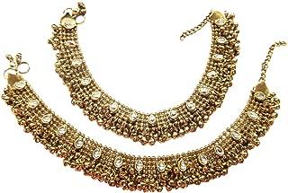 Antique Style Diwali Festive Cz Plated Bridal Anklet Gold