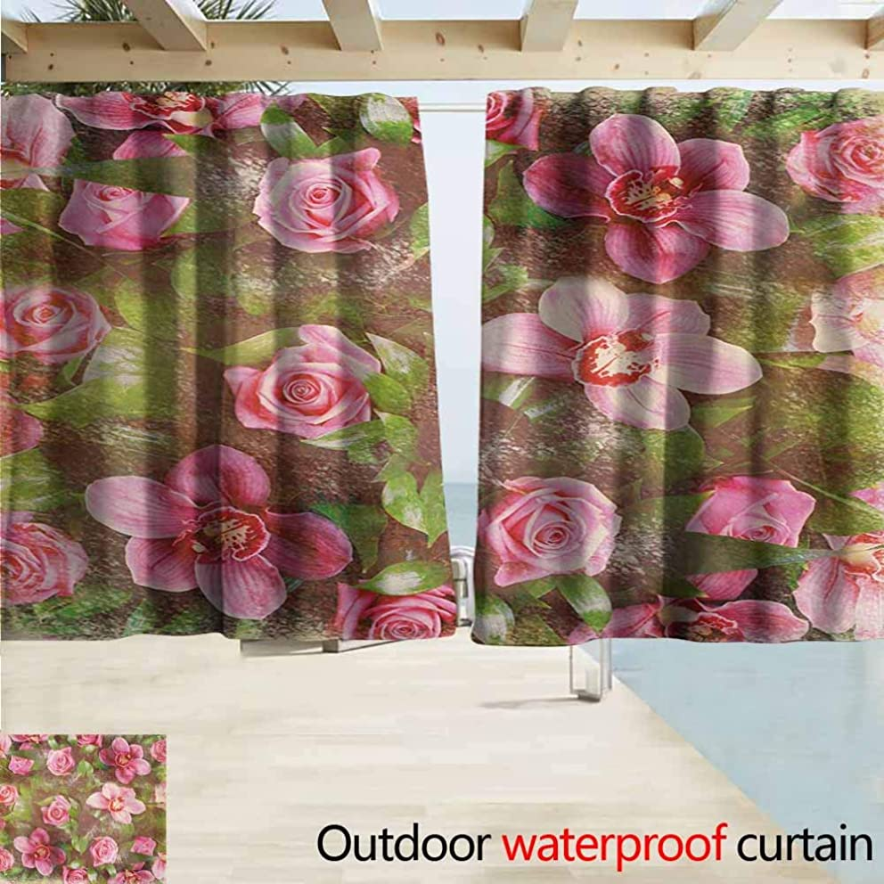 Lcxzjgk Shabby Chic Curtains for Living Room Romantic Retro Floral Composition Grunge Wedding Corsage Artwork Perfect for Your Patio, Porch, Gazebo, or Pergola W63 xL45 Green Pink Pale Pink