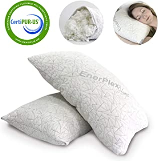 EnerPlex Never-Flat 2-Pack Luxury Queen Size Pillow, CertiPUR-US Certified Adjustable Shredded Memory Foam Pillow, Luxury Pillow, Machine Washable, Removable Bamboo Cover, Queen Size Lifetime Promise