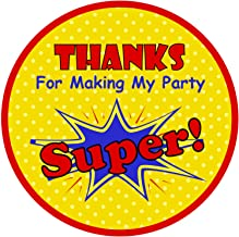 Thanks for Making My Party Super! |40 Super Pow Bam Birthday Round Circle Label | Fun Stickers for Gifts and Thank You Not...