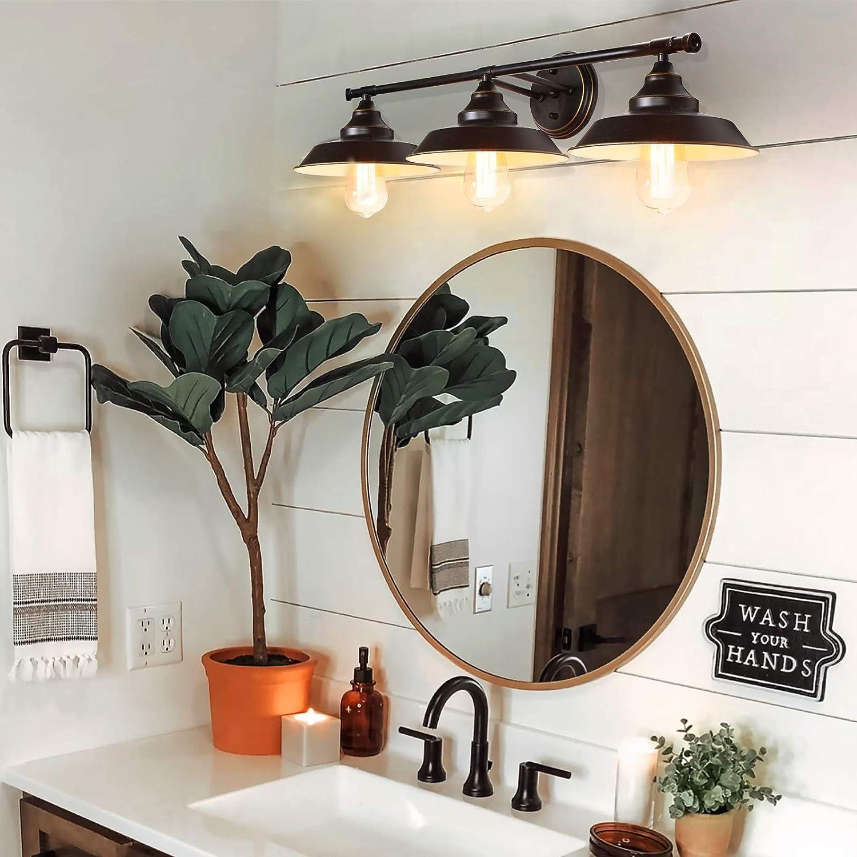 Buy Farmhouse Bathroom Vanity Wall Light Fixture Dark Bronze Industrial Rustic Style 3 Light Vanity Wall Sconce Vintage Wall Mount Lamp For Bathroom Bedroom Vanity Mirror Cabinets Dressing Table Online In Indonesia B08dk1qtmc
