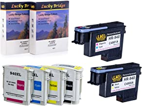 LKB 2PK HP940 Printhead C4900A C4901A Remanufactured Printhead and 1 Set 940 940XL Ink Cartridge with chip Never Used Compatible for HP Officejet (1 Set Printhead and Ink Cartridge)-USA