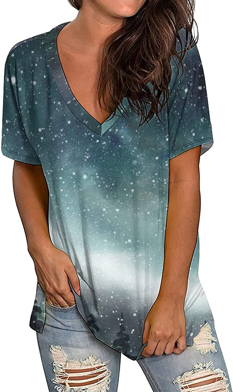 Women Summer Tops Women's Fashion Summer Print V-Neck T Shirts Short Sleeve Tops Women's Blouse
