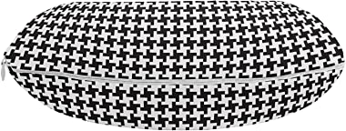 Lunarable Minimalist Travel Pillow Neck Rest, Houndstooth Geometric Pattern Contemporary Checkered Dogtooth Grid Art Deco, Me