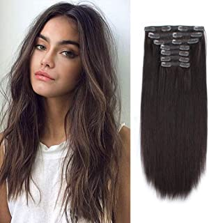 Lovrio 9A Grade Clip in Human Hair Extensions Color Darkest Brown Virgin Human Hair Clip Ins For Women 22 inch 140g 7 pieces 18 clips