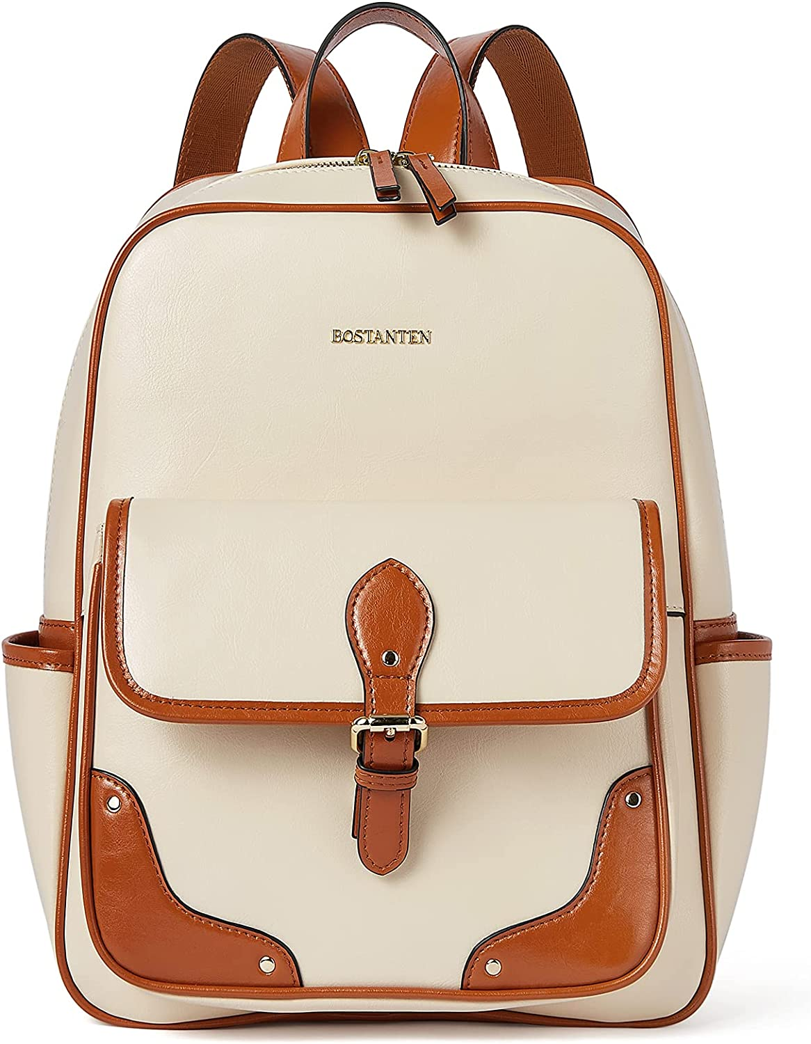 BOSTANTEN Backpack Purse for Women Genuine Leather Small Fashion Backpack Beige