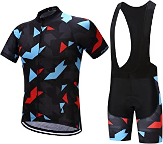 FUALRNY Men's Classic Short Sleeve Cycling Jersey and 3D Padded Bib Shorts Set Biking Clothes