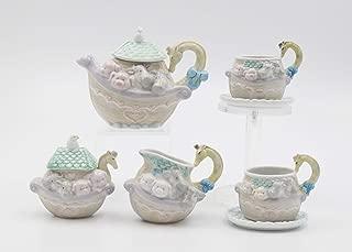 Fine Porcelain Noah's Ark Mini Tea Set (Includes Teapot, Sugar Creamer, 2 Cups & 2 Saucers), 5-1/4