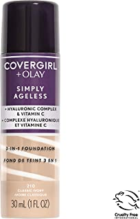 COVERGIRL + Olay Simply Ageless 3-in-1 Liquid Foundation, the #1 Anti-Aging Foundation Now In A Liquid, Classic Ivory Color, 1 Count (packaging may vary)