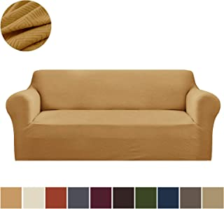 Binztec 1-Pieces Sofa Cover Knitted Jacquard Spandex Sofa Cover Furniture Protector Couch Cover with Elastic Bottom (Gold, Sofa)