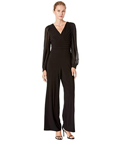 Adrianna Papell Jersey Jumpsuit with Chiffon Sleeve (Black) Women
