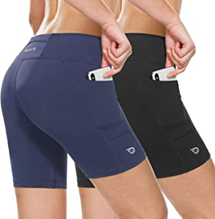 Women's 7 Inches Compression Running Shorts Spandex Workout Shorts Pocket