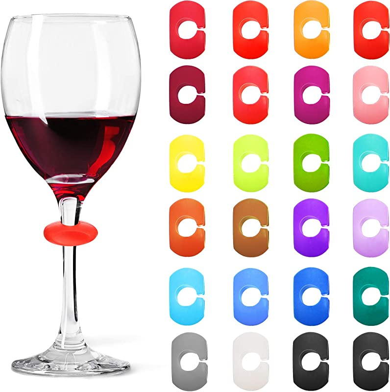 24 Pieces Wine Glass Charms Markers Drink Markers For Wine Glass Champagne Flutes Cocktails Martinis Silicone