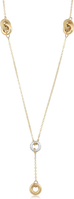 Kooljewelry 10k Two-Tone Gold Drop Necklace (18 inch)