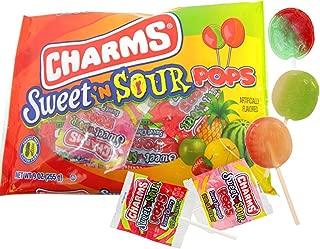 Charms Sweet 'N Sour Pops Lollipops, 9 oz Bag, Pack of 2