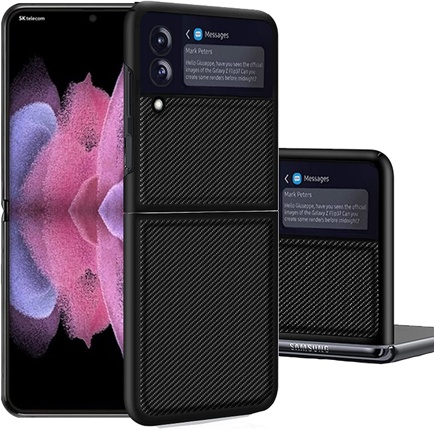 Miimall Compatible Samsung Galaxy Z Flip 3 Case Leather Pattern Soft Anti-Scratch Lightweight Cover Anti-Fingerprints Full Protective Cases Bumper for Samsung Galaxy Z Flip 3 5G 2021(Black)