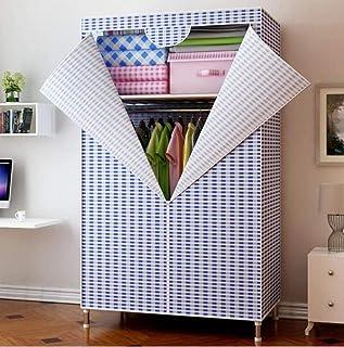 Garde-robe Simple - Cadre en Acier Gras/Renfort en Tissu, Armoire économique Moderne Simple/Meuble de Rangement, à Assembl...