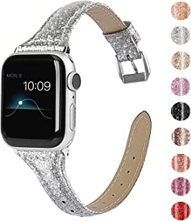 Wearlizer Silver Thin Glitter Leather Compatible with Apple Watch Bands 38mm 40mm Women for iWatch Slim Wristband Glistening Strap Replacement Bracelet with Silver Metal Clasp Series 5 4 3 2 1 Edition
