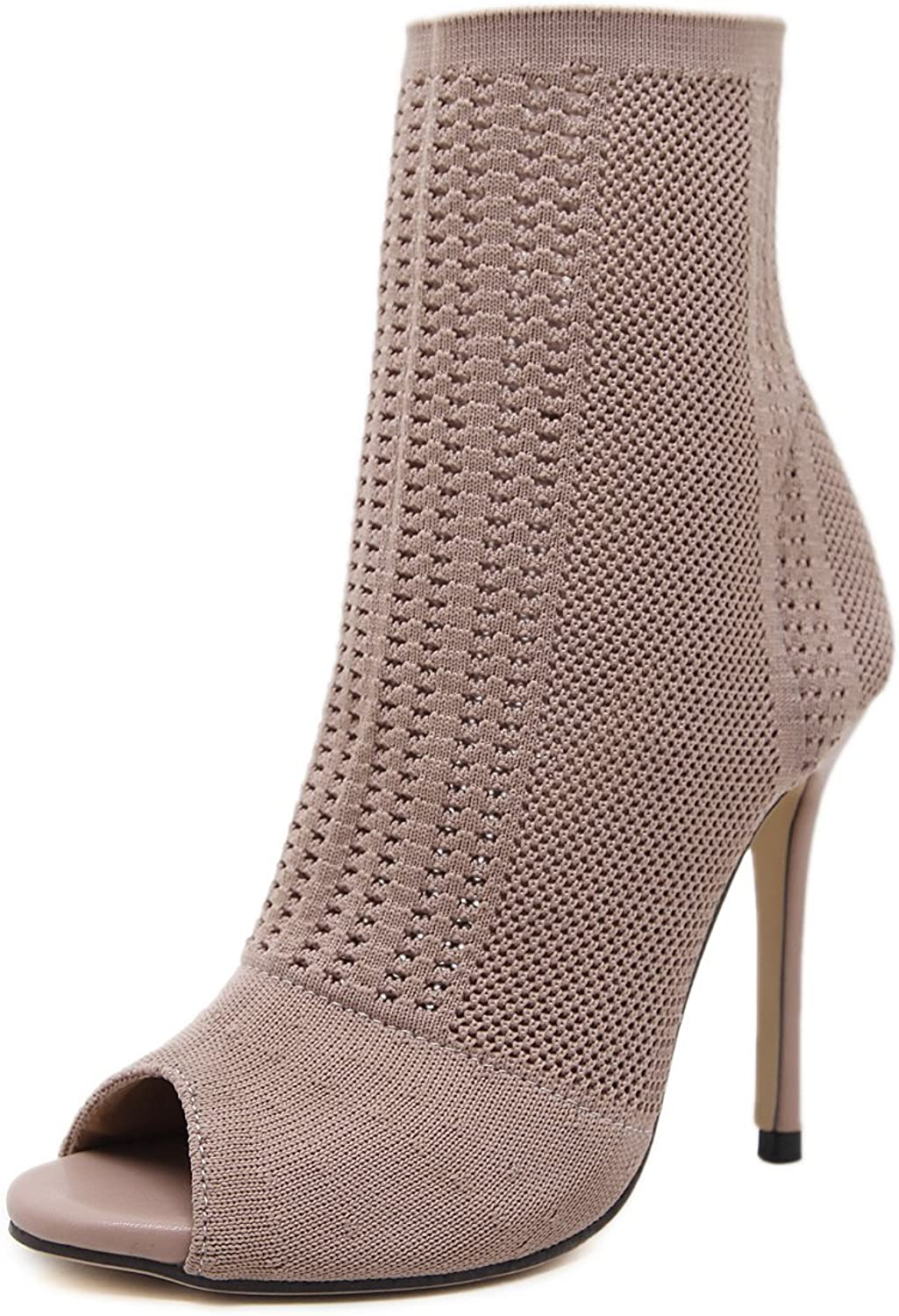 MOBAI Womens Peep Toe Knitting Bootie Pumps Stiletto High Heel Sandals