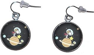 Orecchini pendenti in acciaio inossidabile, diametro 20 mm, fatto a mano, illustrazione Snoopy Astronauta