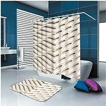 AMDXD Bathroom Set Curtain Mats Accessories Star Khaki Shower Curtains Decorative Bathroom Mats for Home 165x180CM