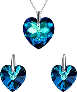 EleQueen Swarovski Crystal Love Heart Jewlery Sets for Women 925 Sterling Silver Hypoallergenic Jewelry