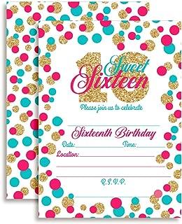 Confetti Polka Dot Sixteenth Birthday Party Invitations for Girls, 20 5