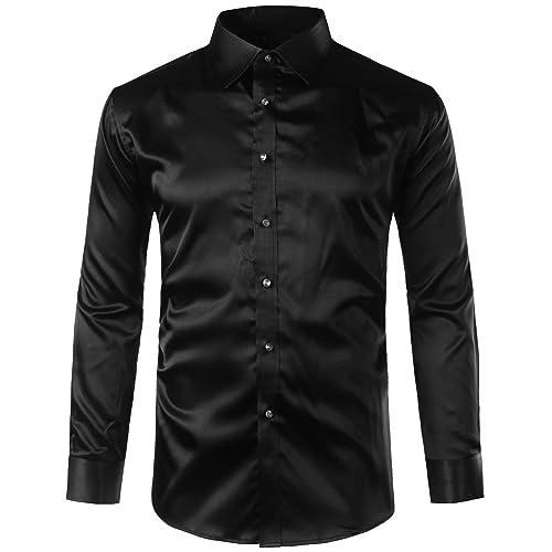 818a7033582097 ZEROYAA Mens Regular Fit Long Sleeve Shiny Satin Silk Like Dance Prom Dress  Shirt Tops
