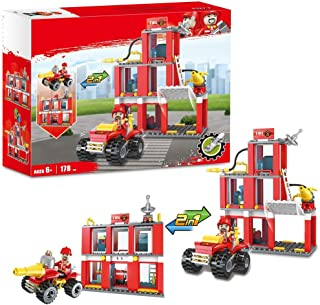 Boys City Fire Station Fire Engine Set Vehicles Juniors Present Blocks Building Blocks Xmas Gifts Construction Toys Brick Fire Truck Fire Fighter 178pcs