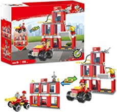 Boys City Fire Station Fire Engine Set Vehicles Juniors Present Blocks Building Blocks Xmas Gifts Construction Toys Brick Fire Truck Fire Fighter 178pcs