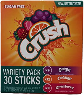Crush Singles Berry Punch. Grape, Orange To Go Sugar Free Drink Mix Variety Pack 2.64 oz 30 sticks