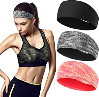 Workout Headbands for Women (3 Pack) - Absorbing Sweat Hair Bands for Yoga Fitness Sports Running, Elastic, Fits All Head Sizes and Under Helmets