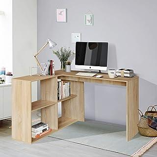 Homy Casa Bureau d'ordinateur en L, Bureau en Bois avec 4 étagères de Rangement Ouvertes Grand Espace pour Les Jambes Stat...