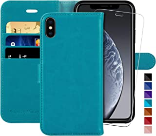 iPhone X Wallet Case/iPhone Xs Wallet Case,5.8-inch,MONASAY [Glass Screen Protector Included] Flip Folio Leather Cell Phone Cover with Credit Card Holder for Apple iPhone X/XS (Light Blue)