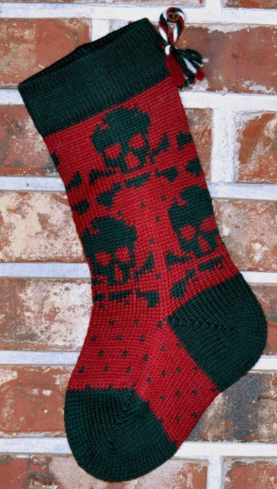 Green 5 popular Skull Large discharge sale Christmas Small Stocking -