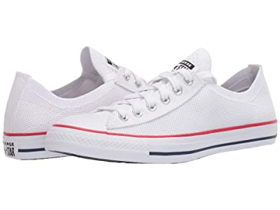 Converse Chuck Taylor All Star Knit Ox (White/Enamel Red/Navy) Athletic Shoes