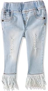 Giggles Side Pocket Elastic Waist Fringe Trim Ripped Denim Pants for Girls
