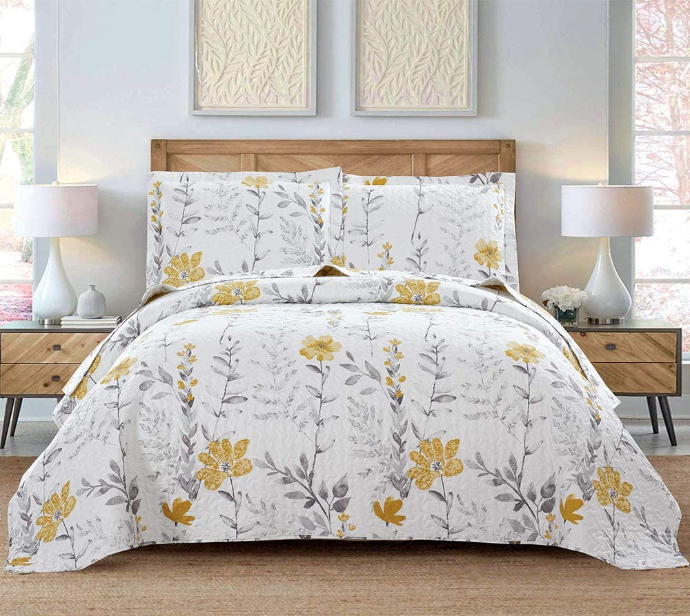 Max 86% OFF Flower Quilt Set Special price Queen Full Size Le Plant Bedspread Summer
