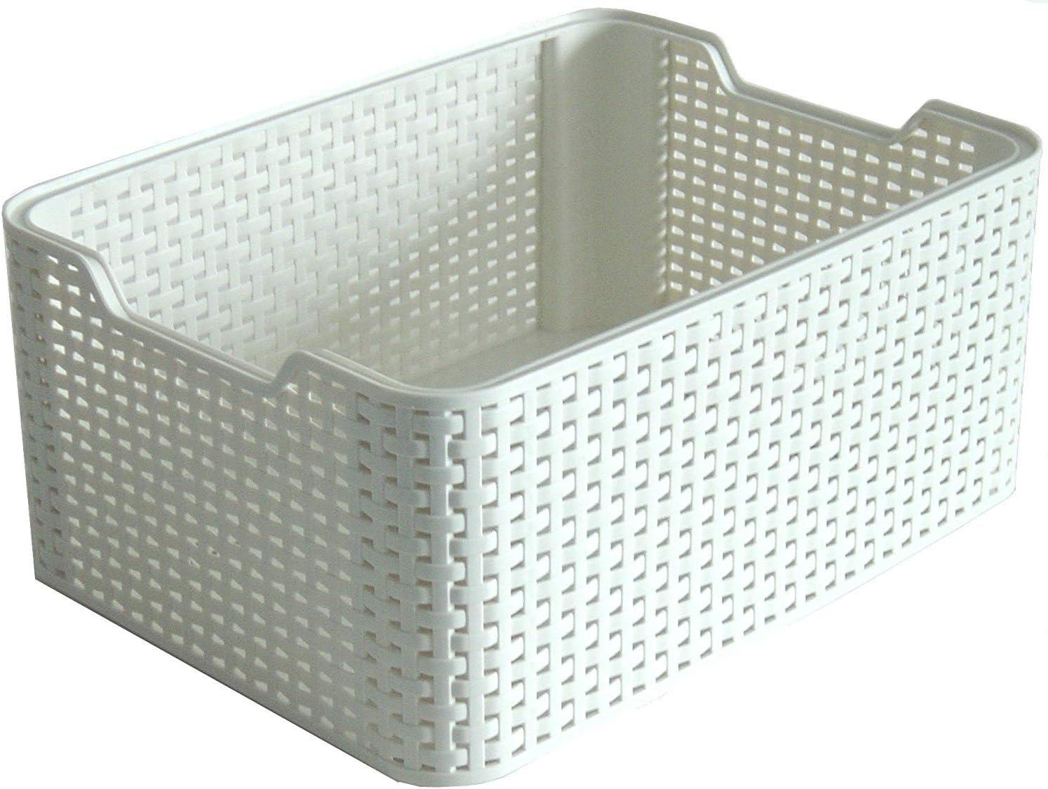 Curver Style Small Rectangular Plastic Storage Basket, Vintage White, 6 Litre