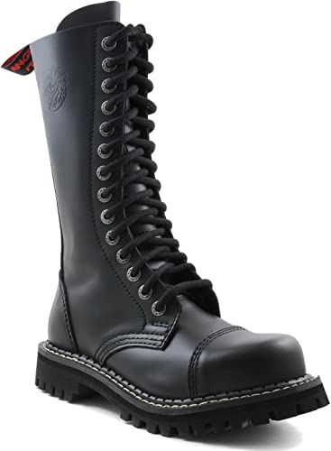ANGRY ITCH - 14-Loch Gothic Punk Army Ranger Armee Leder Stiefel mit Stahlkappe