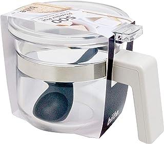 ビッテ パウダーポット スプーン付き すくいやすい ワンタッチ 調味料 収納 キッチン 卓上 500ml ホワイト 107 PP_OWH