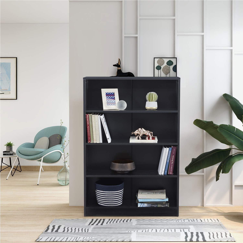 Austin Mall 4-Shelf Bookcase Wooden Open Book Branded goods Shelf Storage Black