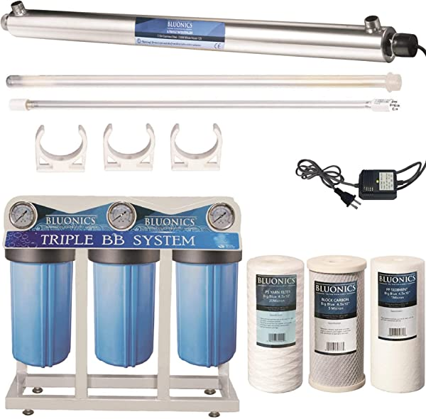 55W UV Ultraviolet Light Sediment Carbon Well Water Filter Purifier System With 3 4 Ports 12 GPM UV Sterilizer With Big Blue Size 4 5 X 10 Filters