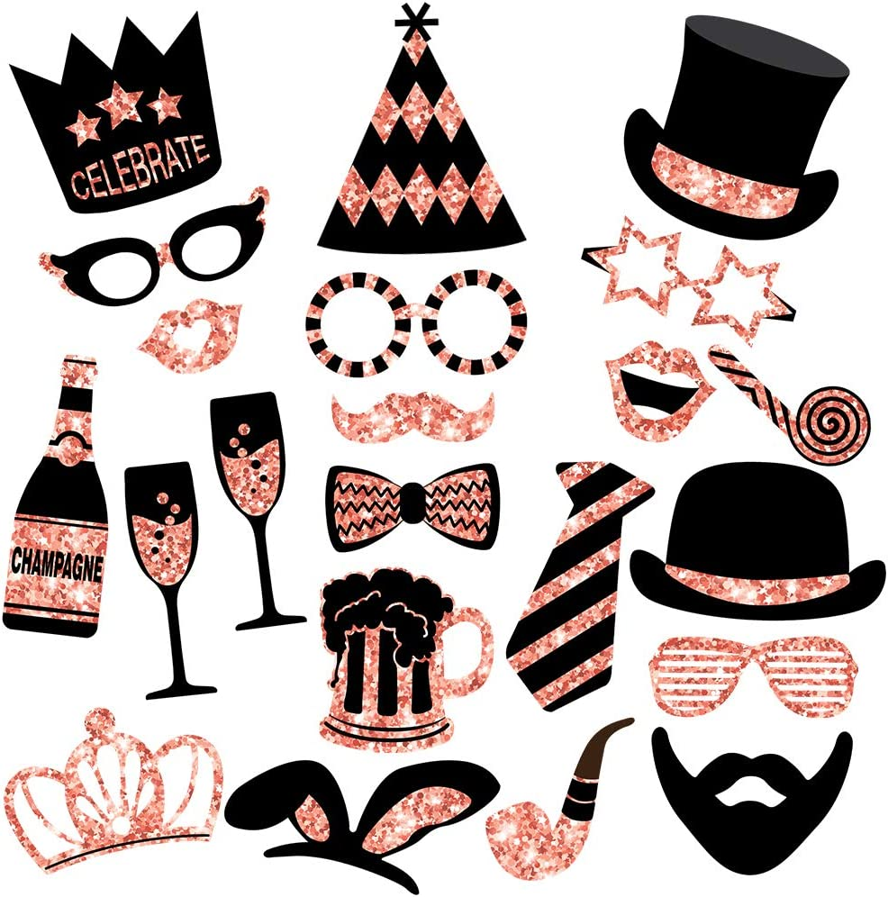 Amazon Com Rose Gold Photo Booth Props No Glitter Mix Of Hats Lips Mustaches Crowns And More 22 Pcs Durable And Vibrant Perfect For Birthday Parties Weddings And More Toys Games