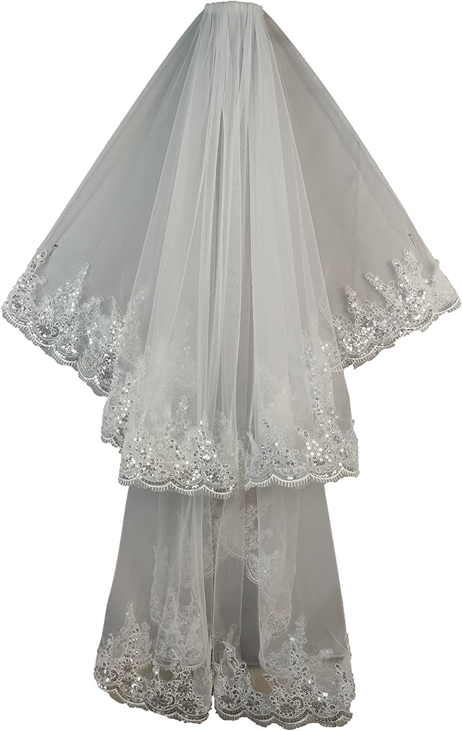 Faithclover Wedding Veils Fingertip Length Ivory 2 Tiers White Sequins Lace Edge with Comb
