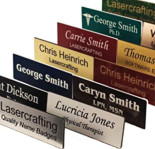 Business Name Tag/ID Badge Custom Engraved, Magnet, Pin, Screws or Tape - Size Choices