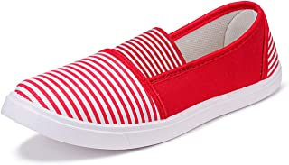 2ROW Women's Striped Red Loafers